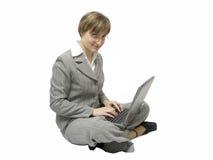 Business-woman avec l'ordinateur portatif Image libre de droits