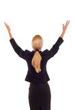 Business woman back hands up Royalty Free Stock Photo