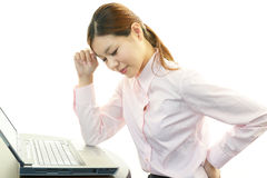 Business woman with back pain Royalty Free Stock Images
