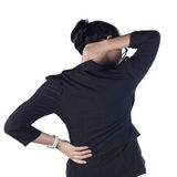 Business woman with back pain  white background Royalty Free Stock Photo