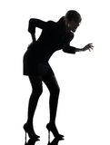 Business woman backache pain silhouette Royalty Free Stock Images