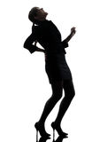 Business woman backache pain silhouette Royalty Free Stock Photos