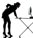 Business woman backache pain standing full length Stock Photo