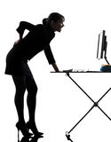 Business woman backache pain standing full length  silhouette Stock Image