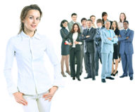 Business woman on the background of business team royalty free stock photography