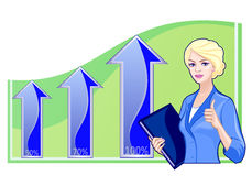Business woman on the background of the charts Royalty Free Stock Photo