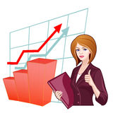Business woman on the background of the charts Royalty Free Stock Photography