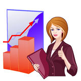 Business woman on the background of the charts Stock Images