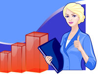 Business woman on the background of the charts Royalty Free Stock Photos