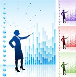Business woman on background with financial charts Stock Photography