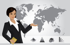 Business woman on background of a map and business charts, vecto Stock Photos
