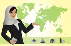 Business woman on background of a map and business charts Stock Image