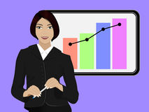 Business woman. On the background of the monitor with charts stock illustration