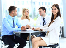 Business woman on the background Stock Photos