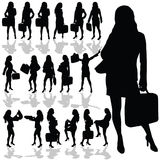 Business woman with a bag black silhouette Stock Image