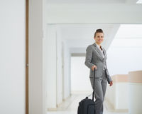 Business woman with bag in business trip Stock Images