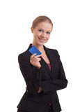 Business woman with a banking card. Young business woman with a banking card royalty free stock photography