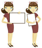 Business woman with banner Royalty Free Stock Photography