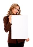 Business woman with a banner Royalty Free Stock Image