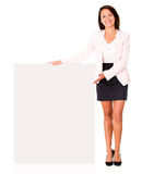Business woman with a banner Royalty Free Stock Photos