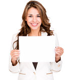 Business woman with a banner Royalty Free Stock Images