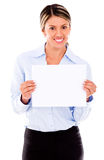Business woman with a banner Stock Photos