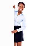 Business woman with a banner Stock Image