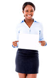 Business woman with a banner Stock Photography
