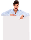 Business woman with a banner Stock Photo