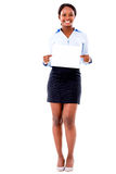 Business woman with a banner Royalty Free Stock Photography
