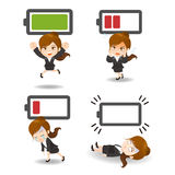 Business woman with battery power Stock Photos