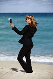 Business Woman Beach Selfie Royalty Free Stock Photo