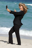 Business Woman Beach Selfie Royalty Free Stock Images
