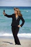 Business Woman Beach Selfie Stock Photos