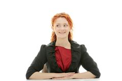 Business woman behind a desk royalty free stock images