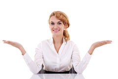 Business woman behind the desk Royalty Free Stock Image