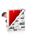 Business woman behind a shopping Royalty Free Stock Photography