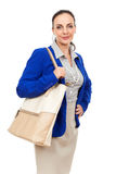Business woman with a beige handbag Stock Photos