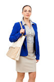 Business woman with a beige handbag Stock Images