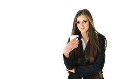 Business Woman with Beverage. Business woman holding a beverage Stock Photo