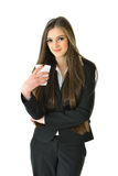 Business Woman with Beverage. Business woman holding a beverage Stock Image