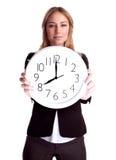 Business woman with big clock Stock Photos