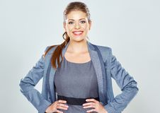 Business woman big toothy smile studio isolated portrait. Pretty female model. Confident professional office worker Royalty Free Stock Photo