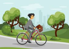 Business woman on bike Royalty Free Stock Images