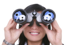 Business Woman Binoculars Royalty Free Stock Photography