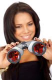 Business woman with binoculars Royalty Free Stock Photography