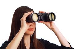 Business woman with binoculars Stock Photos