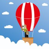 Business woman with binoculars in a hot air balloon, business co. Ncept,cartoon vector illustration vector illustration