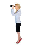 Business woman with binoculars Royalty Free Stock Images