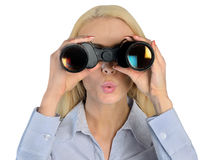 Business woman with binoculars Stock Image